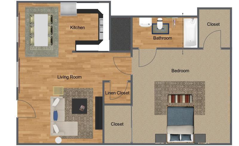 The Cedars 1 bedroom, 1 bathroom floorplan