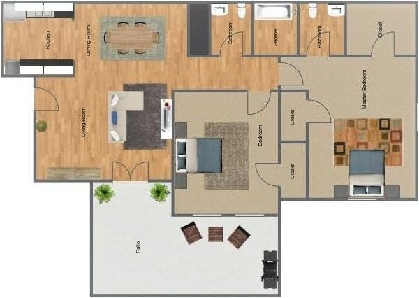 The Cedars 2 bedroom, 1.5 bathroom floorplan
